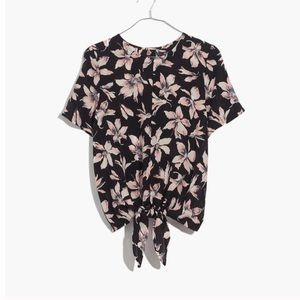 NWT Madewell Floral Silk Tie Front Shirt